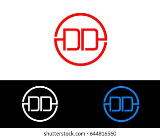 Dd Logo. Letter Design Vector with Red and Black Silver, Gold Colors