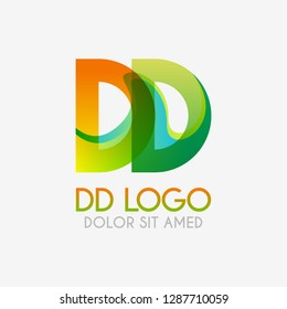 The DD logo with striking colors and gradations, modern and simple for industrial, retail, business, corporate. this DD logo made for online and offline media both web, mobile, logo, brochure, flayer