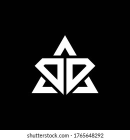 DD monogram logo with diamond shape and triangle outline design template