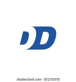 DD negative space letter logo blue