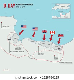 D-Day Landing / Operation Overlord on June 6, 1944 at Normandy, France during World War II map route