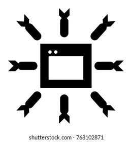 DDOS Attack Icon Vector In Glyph Style