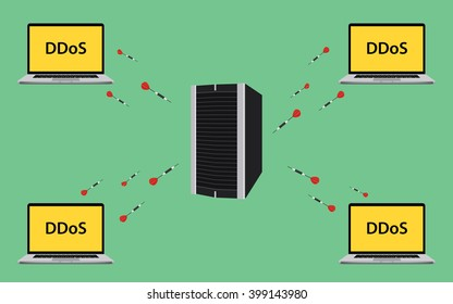 ddos attack illustration with laptop attacks a computer server