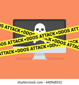 DDoS concept. Modern computer with skull and crossbones and DDoS tape isolated on background