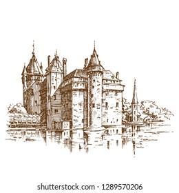 De Haar Castle. Engraving