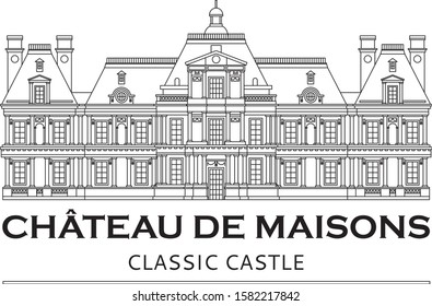 Château de Maisons vector with editable and removable lines