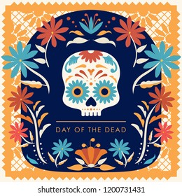 Día de Muertos (Day Of The Dead in Spanish) Marigold Wreath Composition - Copy Space