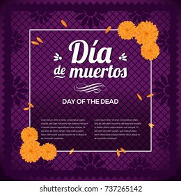 Día de Muertos (Day Of The Death in Spanish) Purple Background - Copy Space
