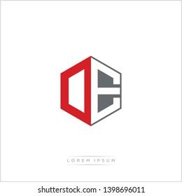 DE / OE Logo Initial Monogram Negative Space Design Template With Orange and Grey Color - Vector EPS 10