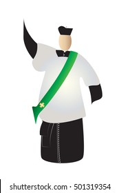 Deacon, abstract silhouette of a traditional choral vestments cleric in a cassock or soutane, with a biretta hat, surplice and a stole.Color vector illustration.