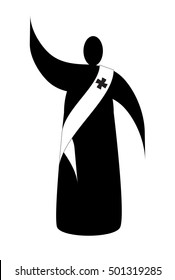 Deacon - abstract simple silhouette illustration of a cleric deacon with a stole. Vector illustration.