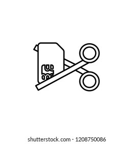 Deactivation sim card scissors icon. Element of telecommunication icon for mobile concept and web apps. Thin line Deactivation sim card scissors icon can be used for web and mobile