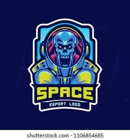 Dead astronaut in spacesuit. Esport Logo element