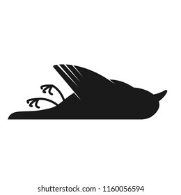 Dead black bird silhouette icon. Clipart image isolated on white background