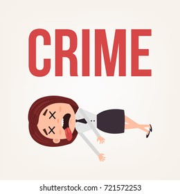 Dead body business woman office worker character. Contract killing concept. Vector flat cartoon illustration