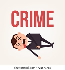 Dead body businessman office worker man character. Contract killing concept. Vector flat cartoon illustration