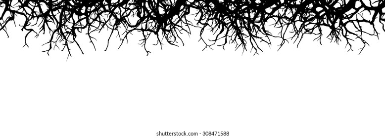 Dead Branch Panorama Banner - Silhouette - Horizontal Vector Background
