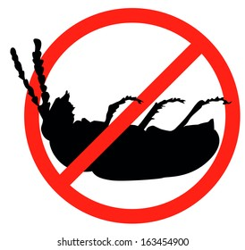Dead bug vector silhouette isolated. Insect repellent emblem