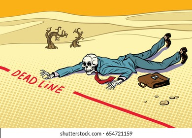 Dead businessman committed to deadline. Next to the dream. A dead traveler skeleton. The end. Pop art retro vector illustration
