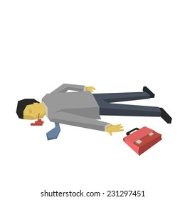 Dead businessman lying down on the ground, isolated on white.