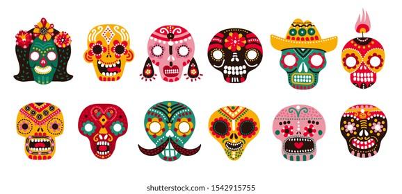 Dead day skulls. Mexican sugar human head bones halloween tattoo dia de los muertos vector set