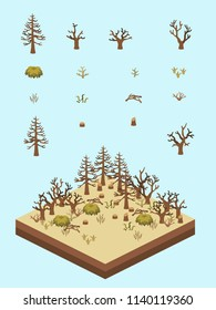 Dead and dry tree, bushes, and grasses for game-style isometric forest in drought scene.