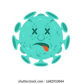 Dead emoji of cartoon character of coronavirus isolated infectious bacteria which dead after antivirus. Quarantine situation covid-19 virus world pandemic. Vector illustration flat design style.