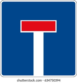 A dead end. Vector road sign Germany.
