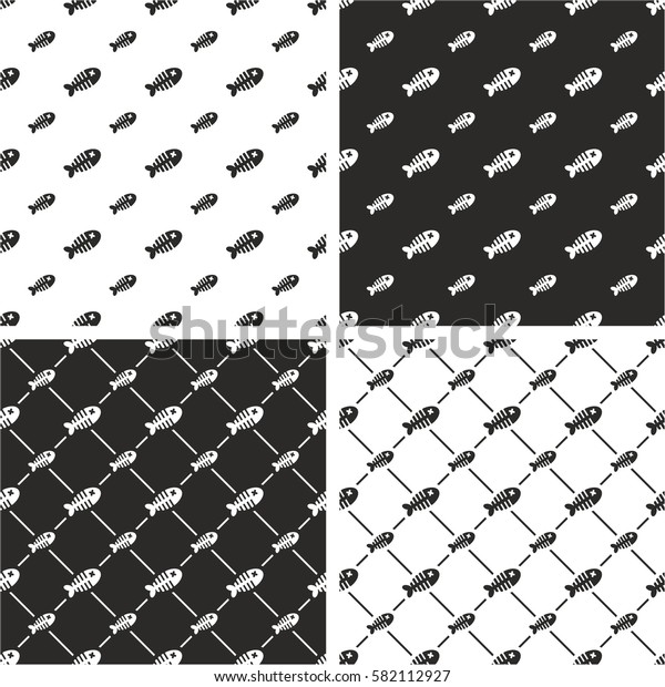 Dead Fish Big & Small Seamless Pattern Set