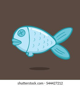 Dead Fish In Cartoon Free Style Hand Drawn Illustration Vector Isolated