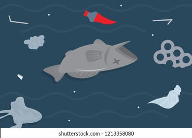 Dead fish floating by poisoning due to toxic spills, chemicals, fuels, oils, plastics, trash, sea garbage in the ocean environment Vector flat illustration