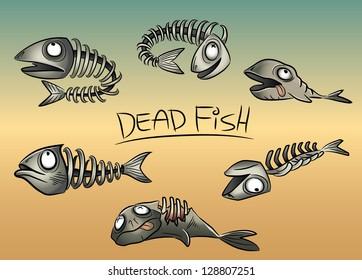 dead fish leftovers illustration