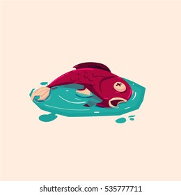 Dead fish in polluted water. water pollution - vector illustration