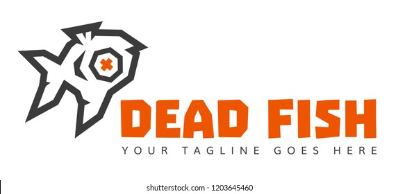 Dead Fish Studio low poly logo version 2. 2 Colors.