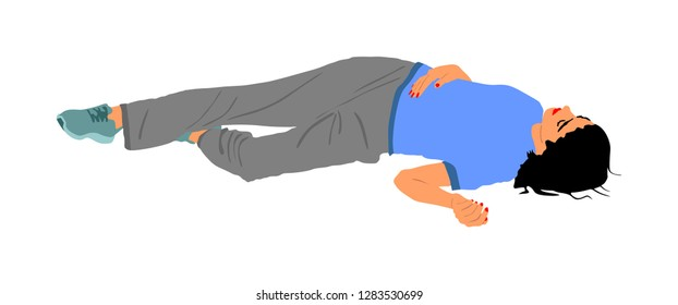 Dead girl lying on the sidewalk vector illustration. Drunk girl unconscious after party. Patient women rescue. Drugged person overdose. Sick teenager. Injured lady after car crush accident. First aid.