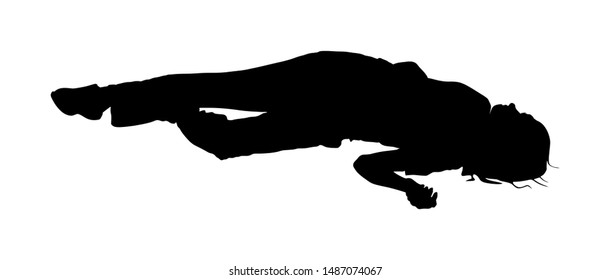 Dead girl lying on the sidewalk vector silhouette. Drunk girl unconscious after party. Patient women rescue. Drugged person overdose. Sick teenager. Injured lady after car crush accident. First aid.