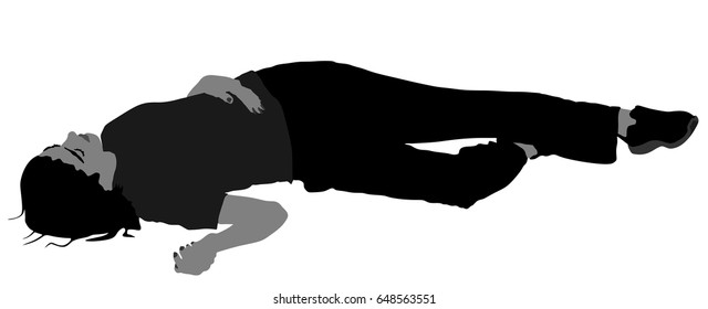 Dead girl lying on the sidewalk vector silhouette illustration. Drunk girl unconscious after party. Patient women rescue. Drugged person overdose. Sick teenager. Injured lady after car crush accident.