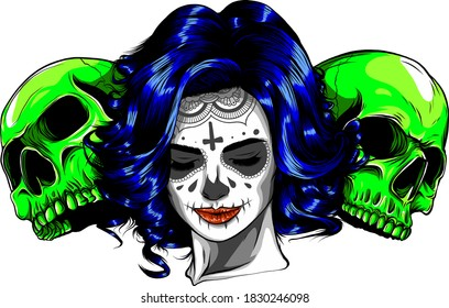 Dead girl with two sugar skulls. vector