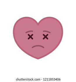 Dead heart shaped funny emoticon icon. Deceased pink emoji symbol. Social communication and online chatting vector element. Corpse face showing facial emotion. Valentine's day mascot in flat style