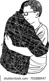 Dead love concept and grieving a relationship loss symbol as a son hug another father that has died as a psychological sorrow mood metaphor