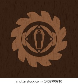 dead man in his coffin icon inside realistic wooden emblem