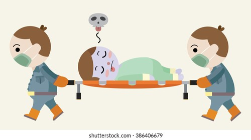 dead man lay on stretcher cartoon vector
