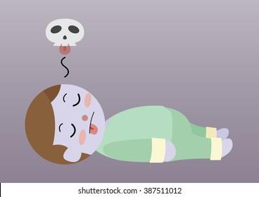 dead man laying on ground cartoon vector