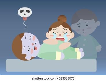 dead man sooth his wife cartoon vector