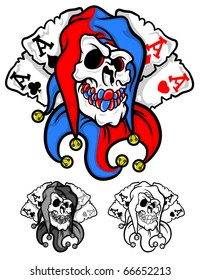 a dead mans hand featuring a skull with four playing card aces.