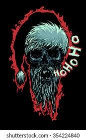Dead Moroz says Ho-Ho-Ho! Bearded skull dressed like Santa Claus. Horror style vector illustration.