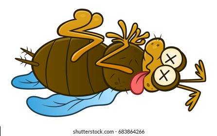 Dead pest insect. Cartoon pest series.