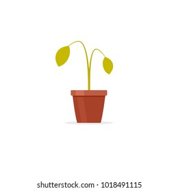 Dead plant in pot icon. Clipart image isolated on white background