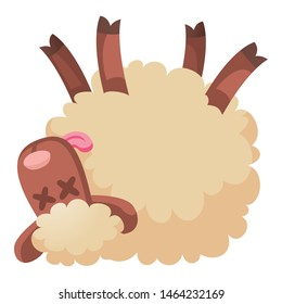 Dead sheep icon. Cartoon of dead sheep vector icon for web design isolated on white background