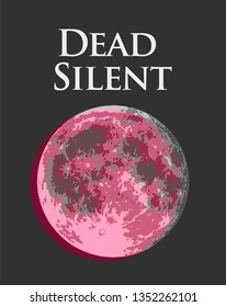 Dead Silent, Vector illustration with rose Full Moon with VHS distortion, creative vintage stylization.